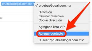 menu contacto en mail os x